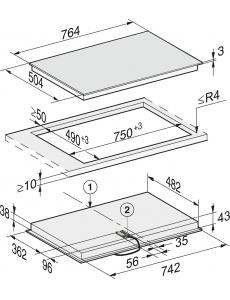 Панель конфорок HiLight Miele KM6542 FR сталь