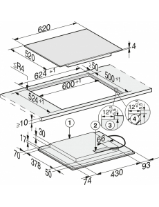 Индукционная панель конфорок Miele KM7564 FL встр. сверху и заподлицо