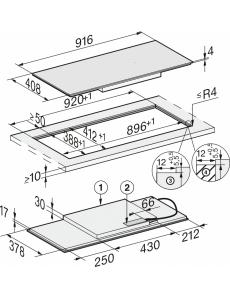 Индукционная панель конфорок Miele KM7684 FL встр. сверху и заподлицо